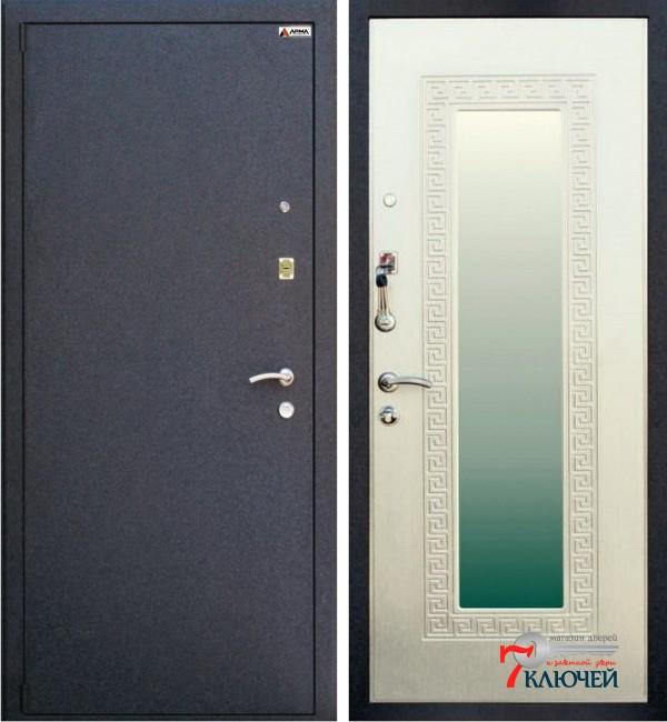 Дверь Арма СТАНДАРТ 2 с зеркалом, беленый дуб