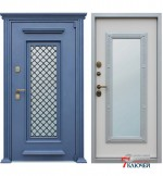 Дверь АЛМАЗ с ковкой и стеклопакетом