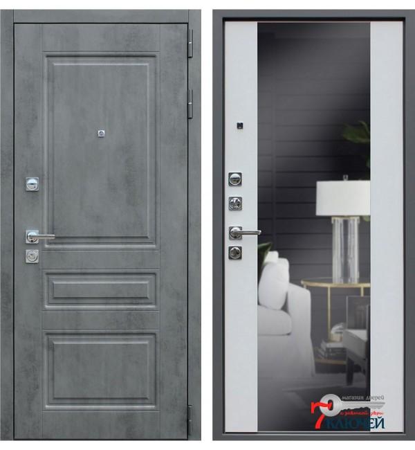 Дверь ЛИРА с зеркалом, белый матовый