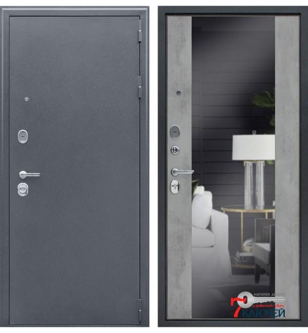 Дверь СПАРТАК-Б с зеркалом бетон