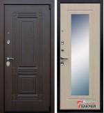 Дверь ВИКИНГ с зеркалом, беленый дуб