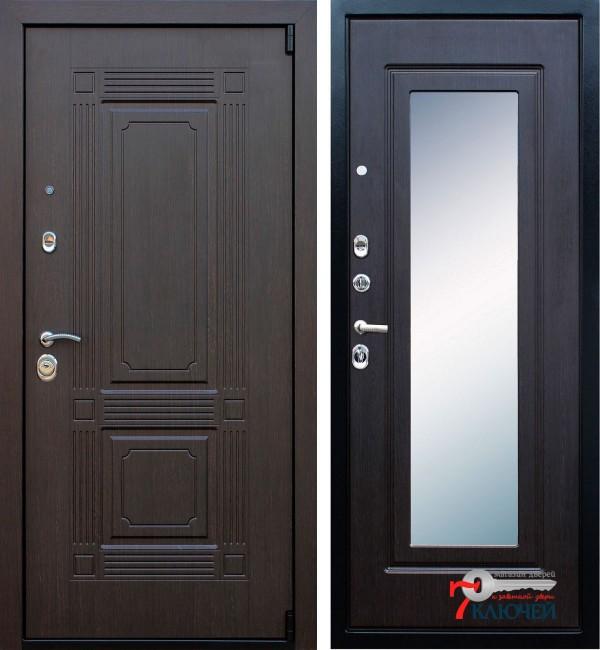 Дверь ВИКИНГ с зеркалом, венге