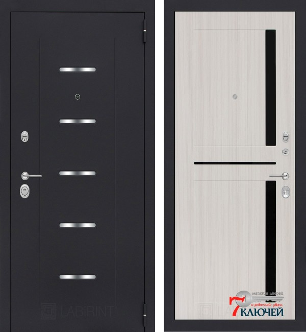 Дверь Лабиринт ALFA 02, сандал белый