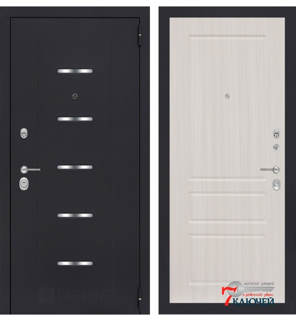 Дверь Лабиринт ALFA 03, сандал белый