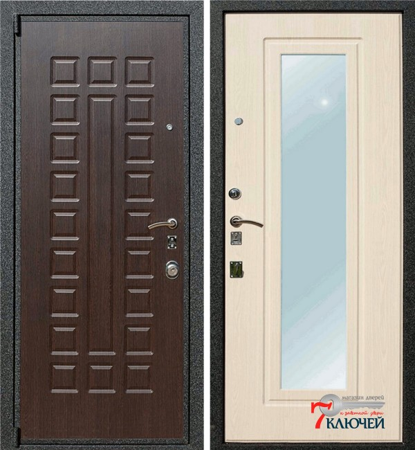 Дверь Лекс 4А с зеркалом, беленый дуб
