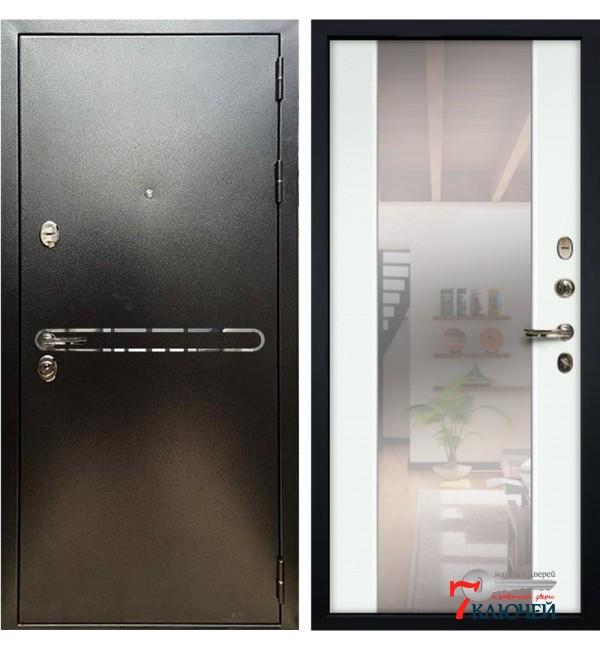 Дверь ТИТАН, серебро с зеркалом Циркон