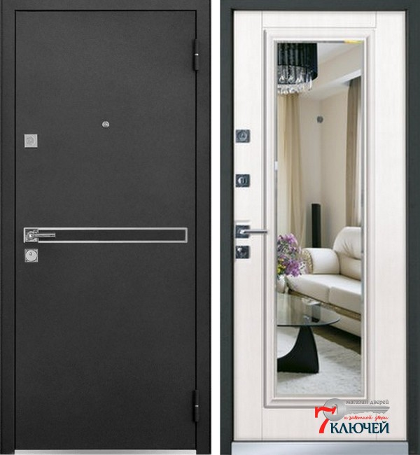 Дверь Mastino PARKO с зеркалом, шамбори светлый