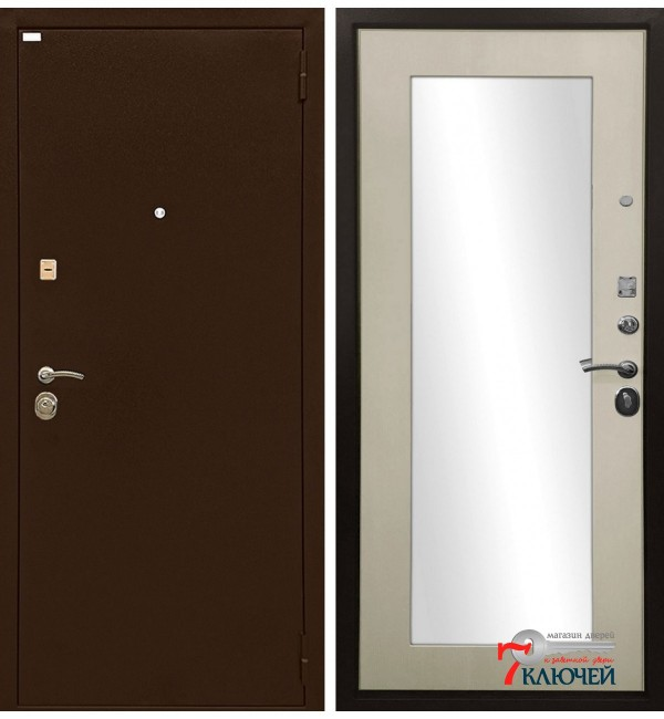 Дверь ОПТИМА лиственница, с зеркалом