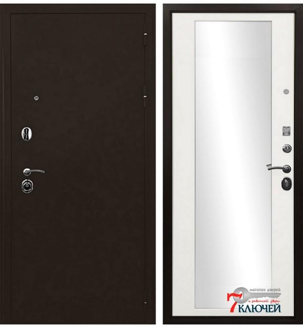 Дверь ТРОЯ, белый матовый с зеркалом