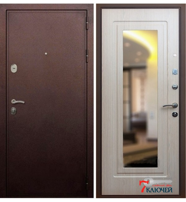 Дверь ПРЕМЬЕР-5А с зеркалом, бел.дуб